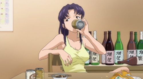 katsuragi-misato-evangelion-capture Top 10 Anime Characters Who Always Have a Drink in Their Hand