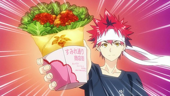 04-Sumire-Karaage-Roll-Souma-Yukihira-and-Ikumi-Mito-Shokugeki-no-Soma-560x315 Top 10 Awesome-Looking Anime Food & Drink [Japan Poll]