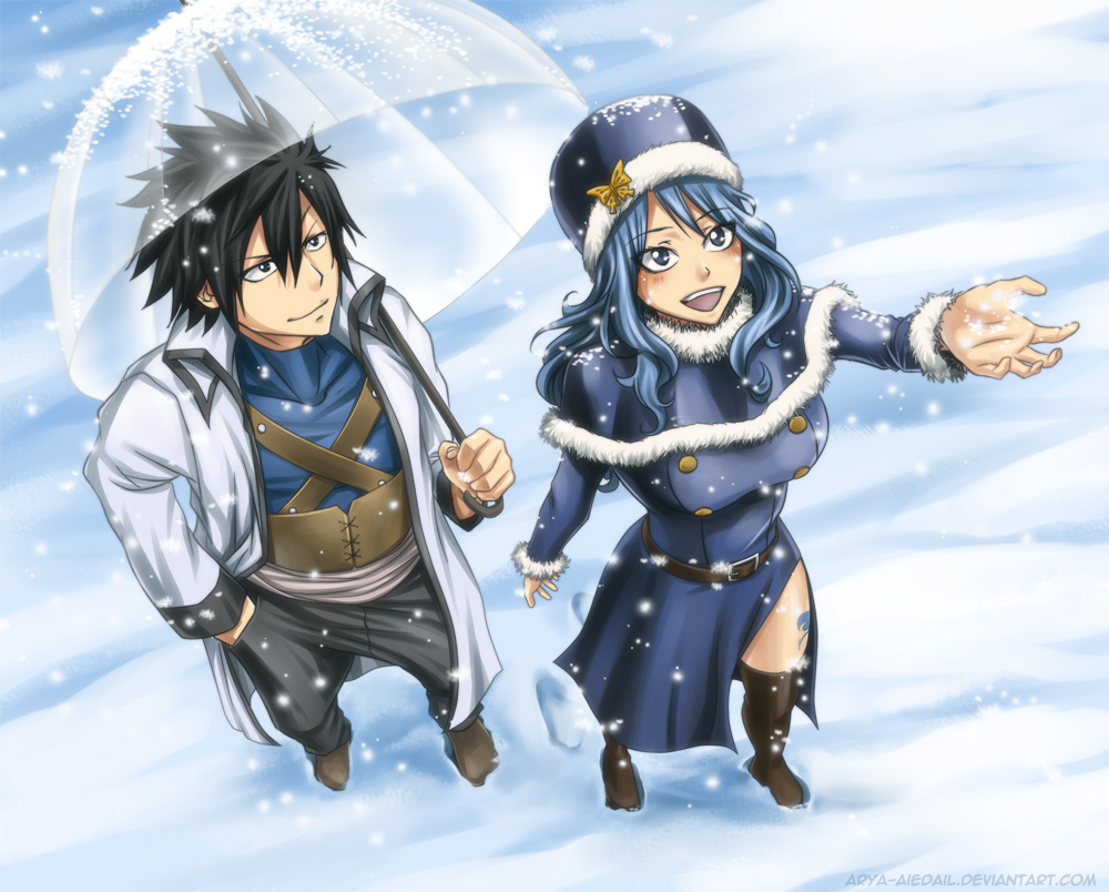 Lockser-Juvia-Fairy-Tail-Fan-Art Top 10 Winter Fashion in Anime