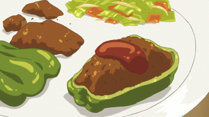 [Anime Culture Monday]  Anime Recipes! Hamburg Stuffed Peppers (Amaama to Inazuma) Hamburg Steak (Flying Witch)