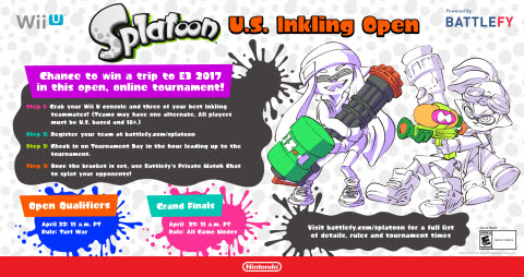 Splatoonnews Show Off Your Skills in the Splatoon U.S. Inkling Open Tournament For a Chance to Win a Trip to E3 2017