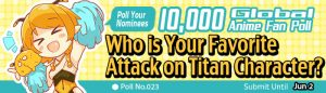 [10,000 Global Anime Fan Poll Results!] Who is Your Favorite Attack on Titan Character?