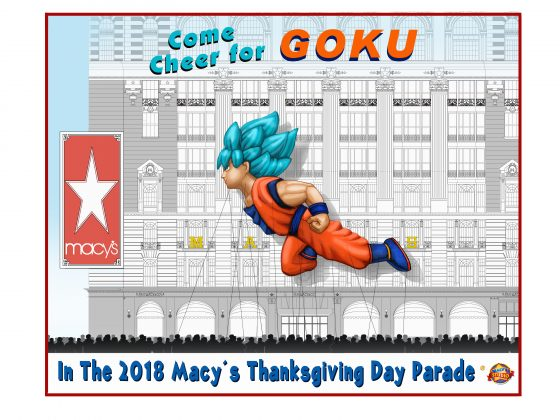 2018-Macys-Thanksgiving-Day-Parade-Poster-848x1079-560x713 Dragon Ball Super: Broly's Goku Takes Super Saiyan Form Over New York City As Giant New Character Balloon