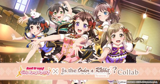 "Gochiusa-x-Band-Dream-SS-1-560x294 ""BANG DREAM! GIRLS BAND PARTY! X IS THE ORDER A RABBIT??"" Collaboration is Now Official!"