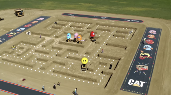 CAT-TRIAL-9-PAC-MAN--560x312 PAC-MAN and Caterpillar Inc. Recreate Classic Arcade Game Using Heavy Duty Construction Equipment and It's Pretty Cool!