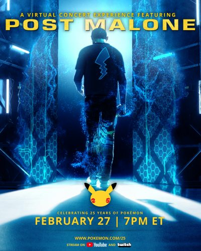 Post_Malone_x_Pokemon_Virtual_Concert_Poster-400x500 Pokémon Unveils Virtual Music Concert With Post Malone to Celebrate 25th Anniversary