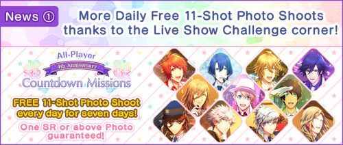 """banner_notice2_03_199_01.en_-560x237 """"Utano☆Princesama Shining Live"""" 4th Anniversary Countdown Missions More Daily Free Photo Shoots & New Information!"""